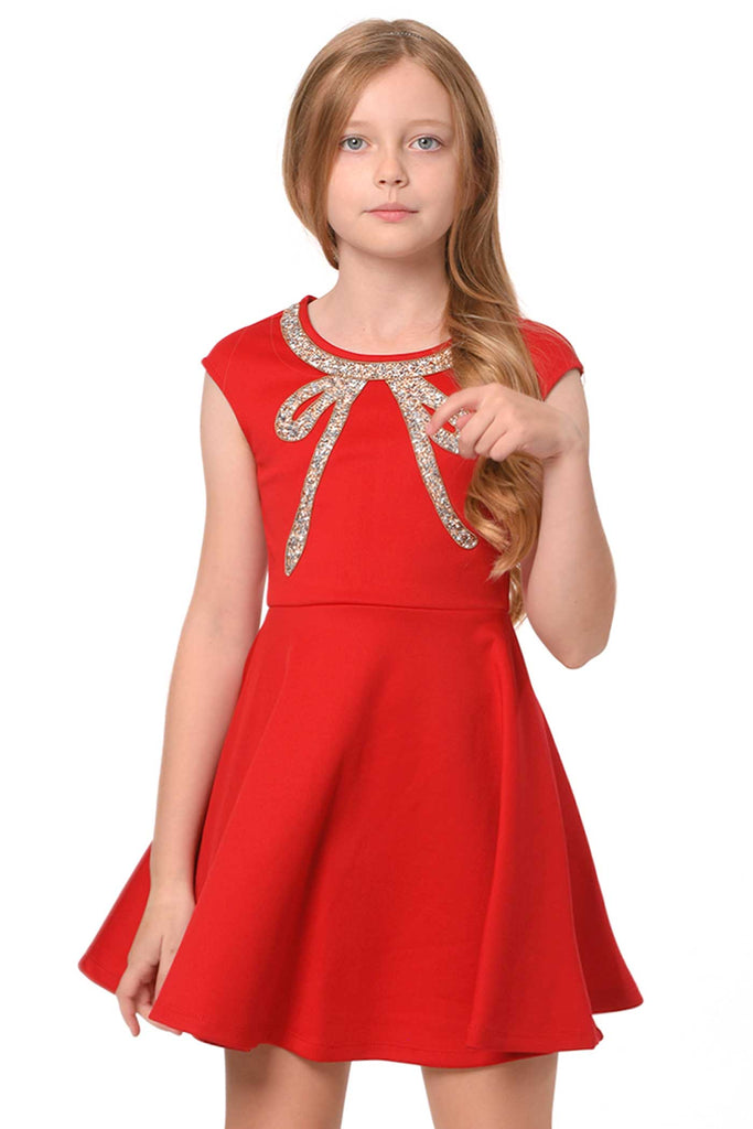 Truly Me Big Girls Fit and Flare Skater Dress with Jeweled Bow