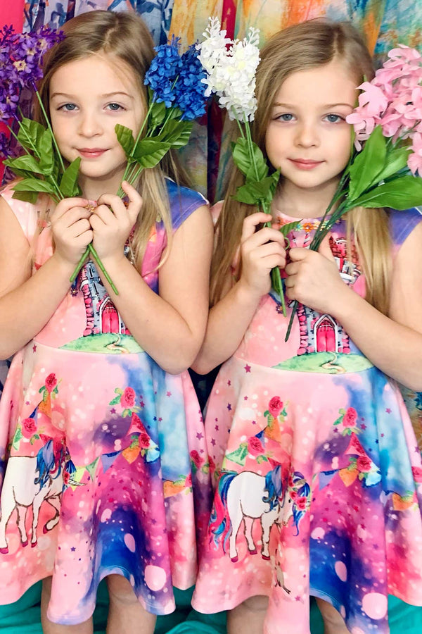 Truly Me Little Girls Castle and Unicorn Skater Dress