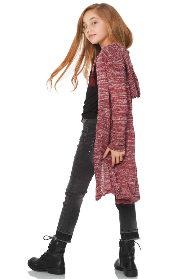 Big Girls Long Knit Hoodie Cardigan