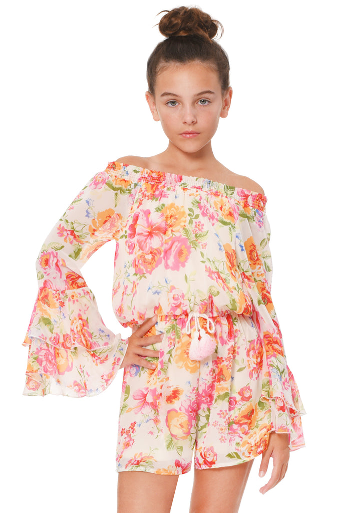Truly Me Big Girls Floral Off The Shoulder Romper