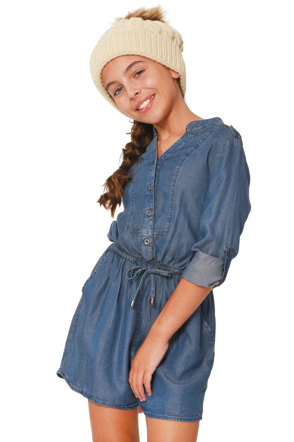 Truly Me Big Girls Chambray Denim Romper