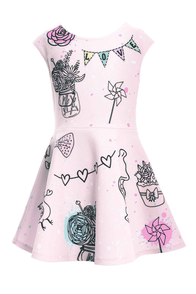 Truly Me Little Girls Fit and Flare Skater Dress with Cute Doodle Arts