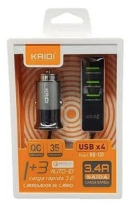 Carregador Veicular Turbo Universal 4 Usb Quick Charge 3.0 Kaidi KD-13