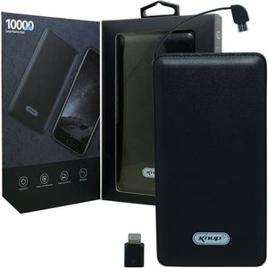 Power Bank 10000 mah com cabo V8 e iphone KNUP KP-PB01
