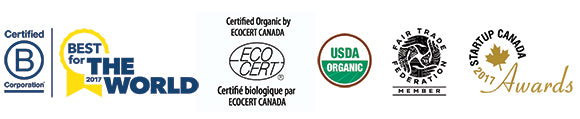 Awards and certifications: B Corp, Best for the World, EcoCert, USDA Organic, Fair Trade Federation, Startup Canada Awards