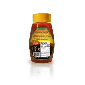 Back view of African Winter Harvest forest honey in a 500g squeeze bottle