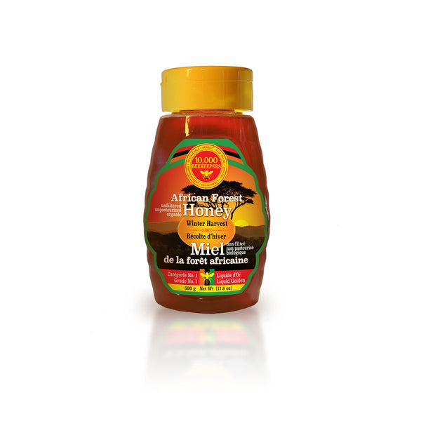 Front view of African Winter Harvest forest honey in a 500g squeeze bottle