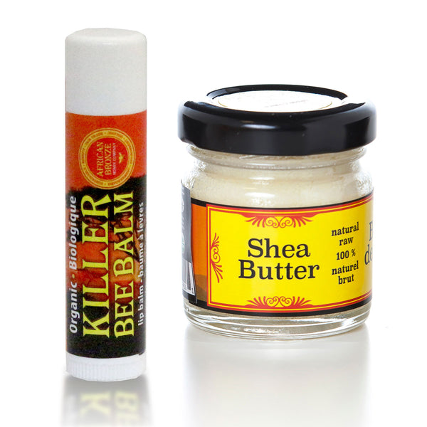 Skin Care Set - Natural Honey Lip Balm & Shea Butter