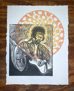 Hendrix Woodcut Collage 1