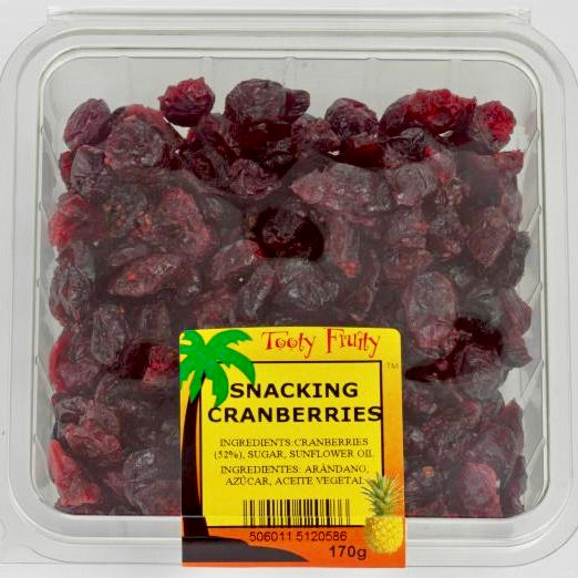 clear packet of dried cranberries