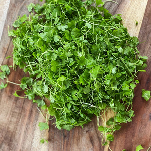 micro celery leaf salad on a wooden board