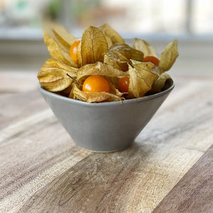 physalis in a grey bowl on a wooden board