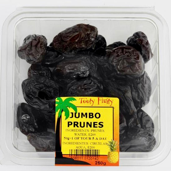 clear packet of dried prunes