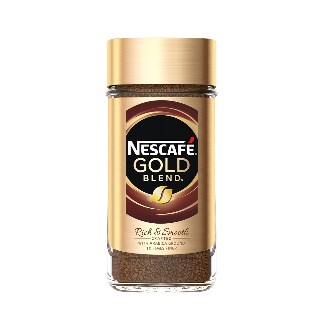 jar of Nescafe Gold Blend Instant Coffee on a white background