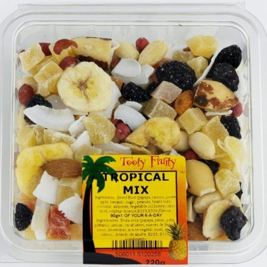 dried tropical fruit mix in a packet