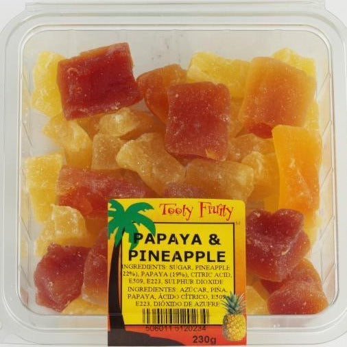 dried papaya and pineapple in a punnet