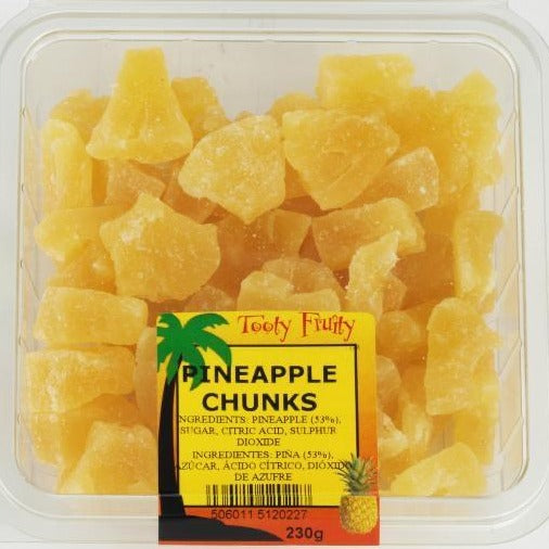 dried pineapple chunks in a plastic packet