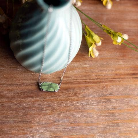 Reversible Hexagon Necklace ~ Botanical Green Rhodium