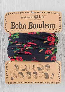 Boho Bandeau ~ Black Blooms