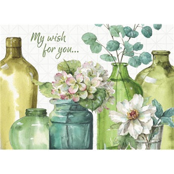Birthday Card ~ Greenery Bottles