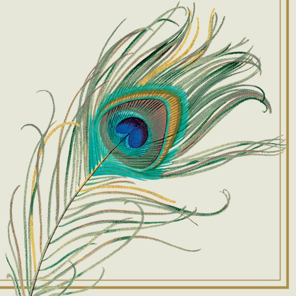 Luncheon Napkins ~ Peacock Feathers