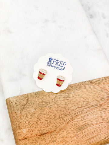 Red Coffee Cup Enamel Stud Earrings