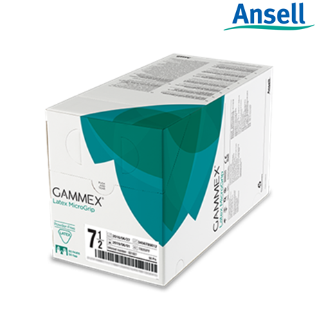 Ansell Gammex Latex MicroGrip Powdered Surgical Gloves, 50 Pairs/Box