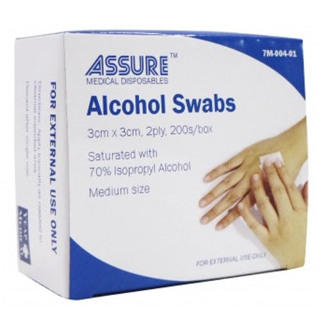 Assure Alcohol Swab Sterile 3cmX3cm-2ply, 200s/box