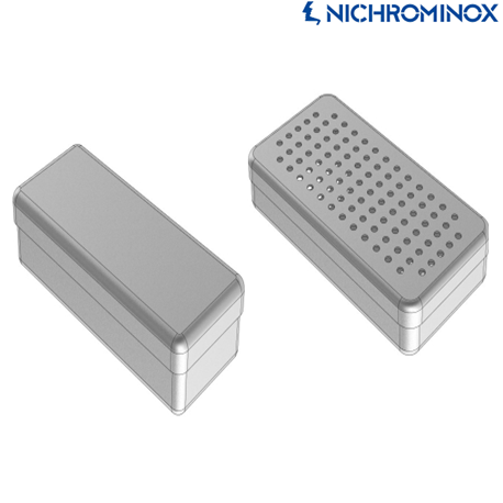 Nichrominox Perforated Aluminium Boxes For Storage and Sterilization, 21x10x5 cm