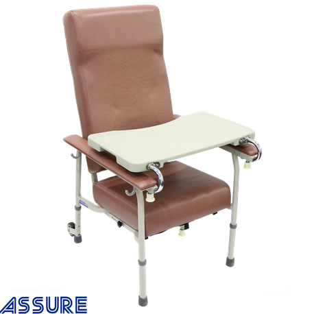 Assure Geriatric Chair with adjustable Height and 2 Rear Wheel, Rosewood