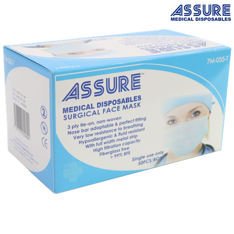 Assure Surgical Mask 3-ply Blue Tie-On, 50 pcs/box