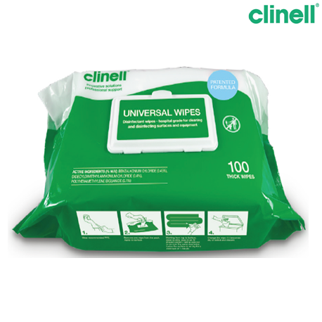 Biocide Clinell Wipes 100, 100 Pieces/Pack