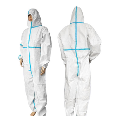 Disposable Protective Micorporus Coverall, 63gsm, White in color with Blue Tape, 1pc/bag, 25bags/case