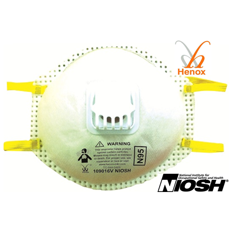 Henox N95 Cone Respirator With Exhalation Valve, #SE-109016V, 10 Pieces/Box