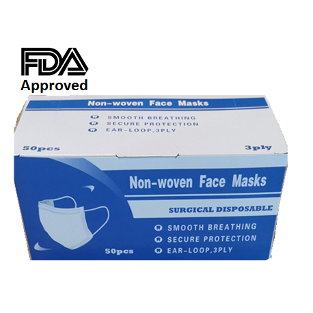 Disposable 3ply ear loop Face Masks, 50pcs/box, ASTM Level 1