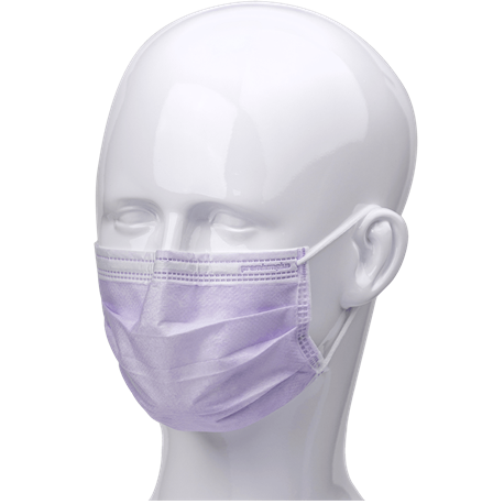 Premium Plus Ultra Sensitive Type IIR Ear Loop Face Masks with Shield, 25/Box, Lavender color
