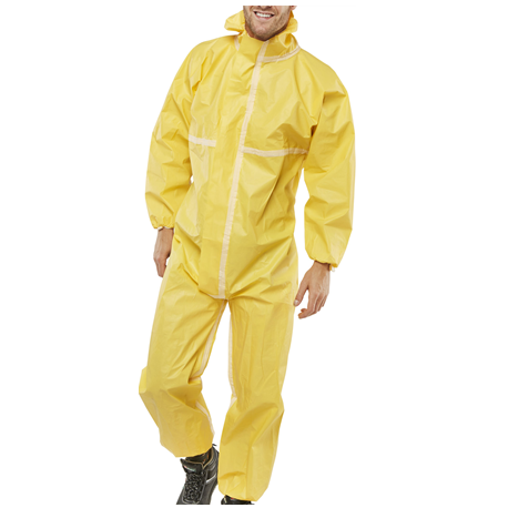Single use Protective Coverall with Polyethylene Barrier Film, 88gsm, Yellow in color, 1pc/bag, 25bags/case