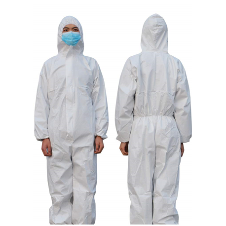 Single use Disposable Protective Microrporus Coverall, 55gsm, White in color, 1pc/bag, 25bags/Case