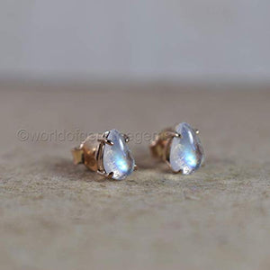 girls stud earring, natural rainbow moonstone earring, rose gold plating earring, 925 sterling silver jewelry, blue flesh gemstone earring, statement earring, gift for her jewelry