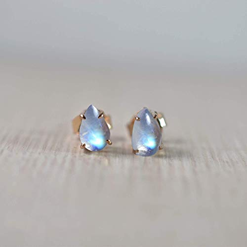 Stud Earrings. Natural rainbow moonston earring, rose gold plating earring, 925 sterling silver.
