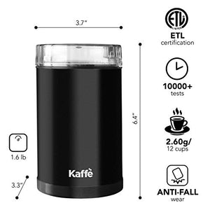 Kaffe KF2010 Electric Coffee Grinder - Black - 3oz Capacity with Easy On/Off Button. Cleaning Brush Included!