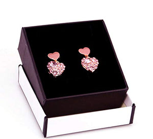 Falasoso Pink Stud Earrings For Women, Titanium Cubic Zirconia Hypoallergenic Heart Dangle Crystals 925 Sterling Silver Cute Earrings For Girls