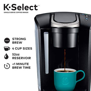 Keurig K-Select Coffee Maker, Single Serve K-Cup Pod Coffee Brewer, With Strength Control and Hot Water On Demand, Matte Black