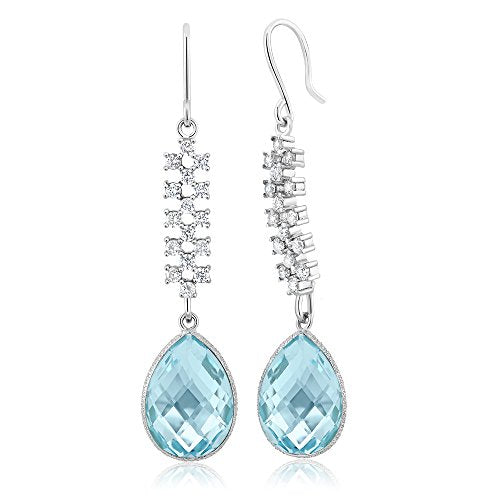 Gem Stone King 18.00 Ct Stunning Genuine Blue Topaz Gemstone Birthstone 16X12MM Pear Shape 925 Sterling Silver 2inches Dangle Earrings
