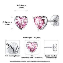Load image into Gallery viewer, Women 925 Sterling Silver 6mm Heart Stud Earrings Pink Tourmaline Crystal Cubic Zirconia CZ October Birthstone Earring Studs Hypoallergenic Earring for Sensitive Ears