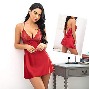 Avidlove Women Bridal Robe Satin Nightgown Lace Lingerie Set Sexy Babydoll V Neck Sleepwear Strap Chemise L, Red
