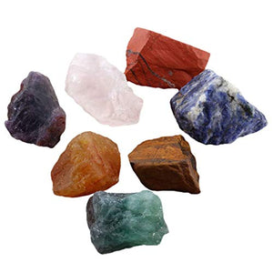 SUNYIK 7 Chakra Stones Set, Natural Rough Raw Stone for Tumbling,Cabbing,Crystal Healing Kits