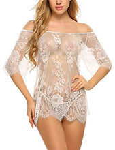 Load image into Gallery viewer, Avidlove Women Sexy Lingerie Cold Shoulder Eyelash Lace Babydoll(White,3XL)