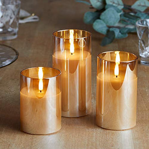 Lights4fun, Inc. Set of 3 TruGlow Gold Glass Flameless LED Battery Operated Pillar Candles with Remote Control