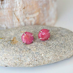 Natural Raw Ruby Stud Earrings - Pink Crystal in Italian Sterling Silver - For Bridesmaid, Bride, Girlfriend